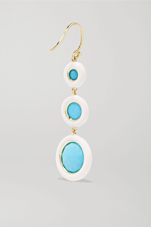 Ippolita Lollipop Carnevale 18-karat green gold, ceramic, turquoise and quartz doublet earrings