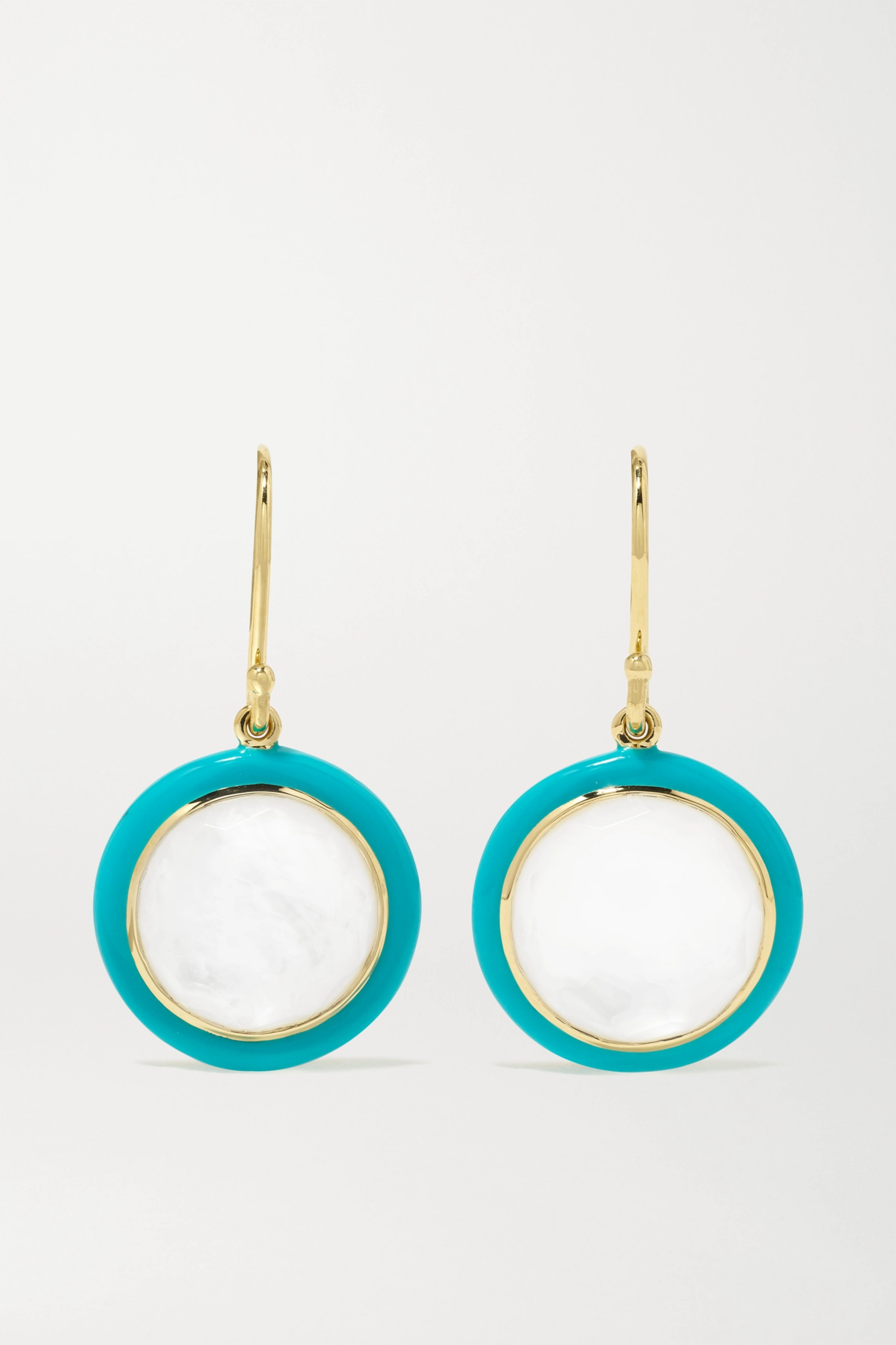 Ippolita Lollipop Carnevale 18-karat green gold, ceramic, mother-of-pearl and quartz doublet earrings