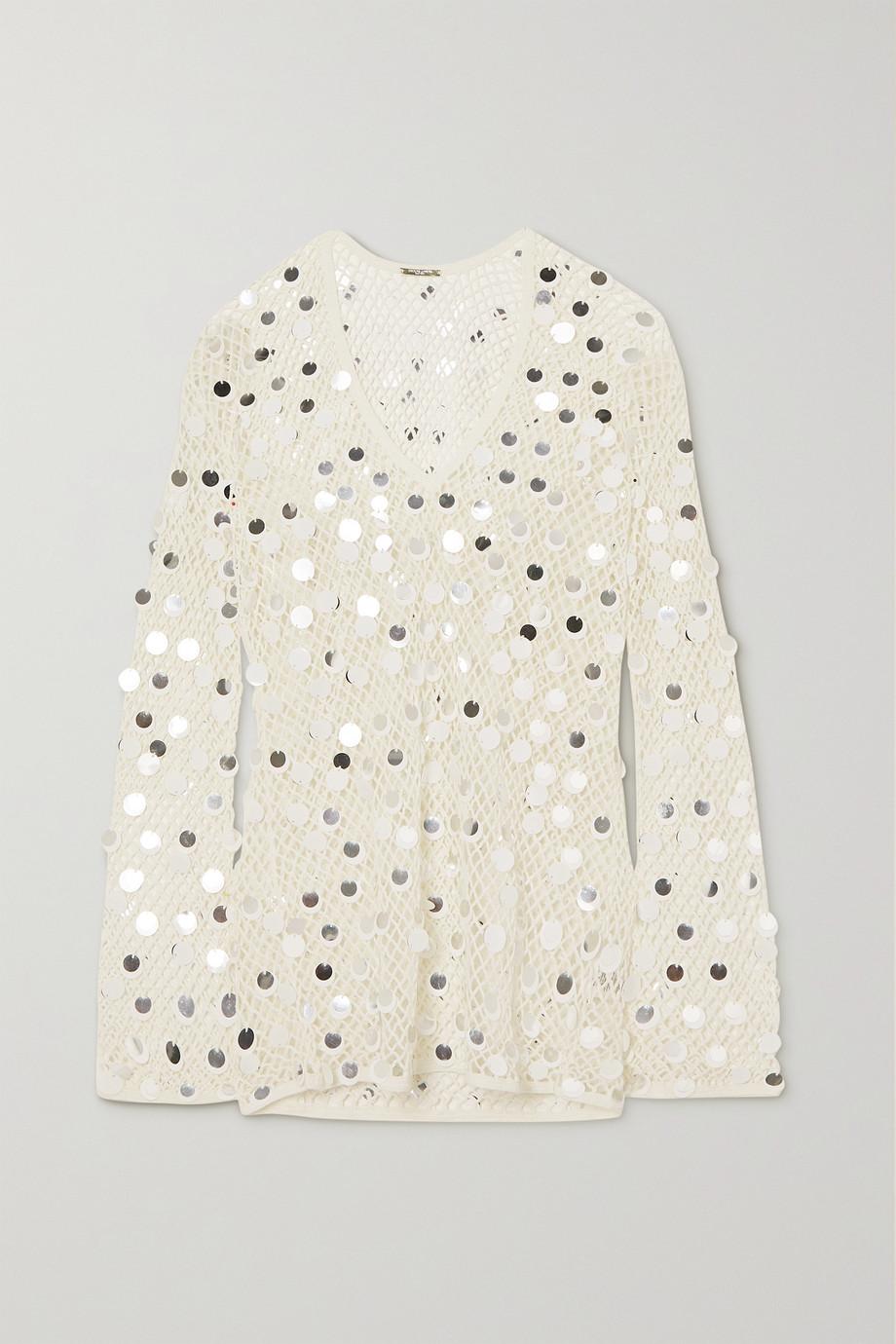 Caroline Constas Paillette-embellished crochet-knit mini dress