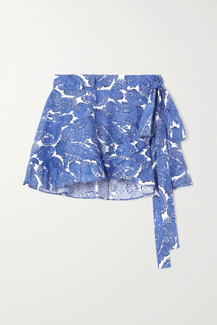 Caroline Constas Ruffled paisley-print stretch-cotton wrap mini skirt