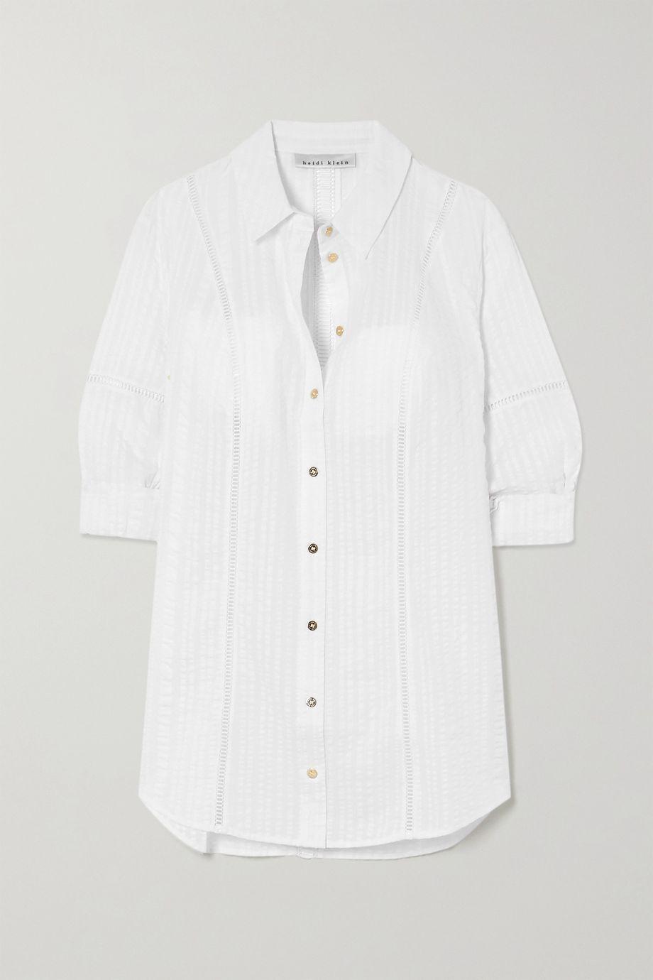 Heidi Klein Crocheted lace-trimmed cotton-seersucker shirt