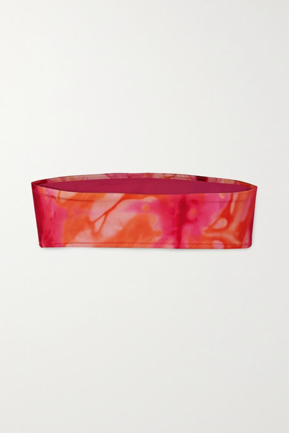 Versace Fascia printed tie-dyed bandeau bikini top