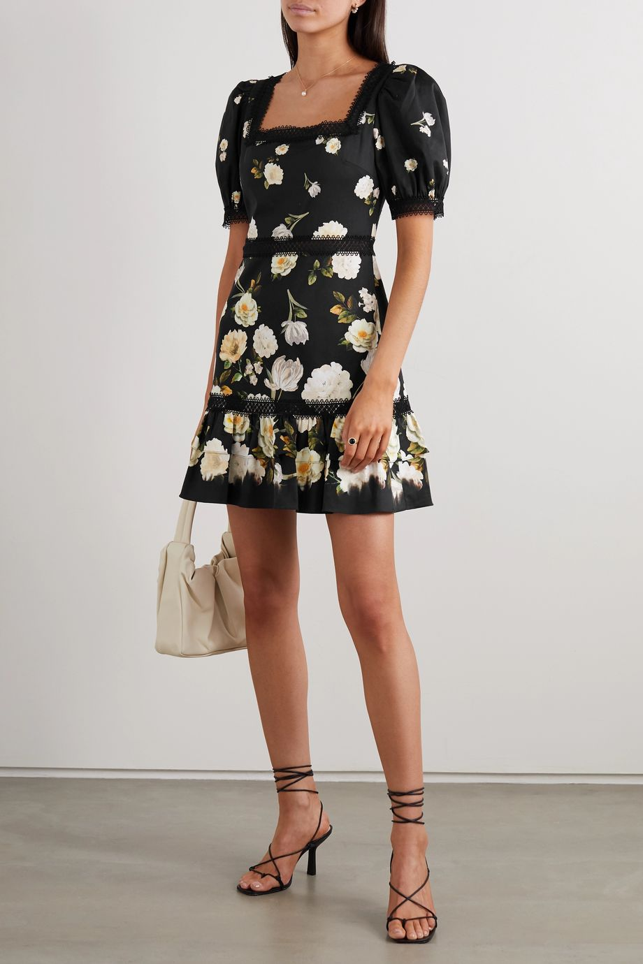 Alice + Olivia Wylie crochet-trimmed floral-print cotton-blend mini dress