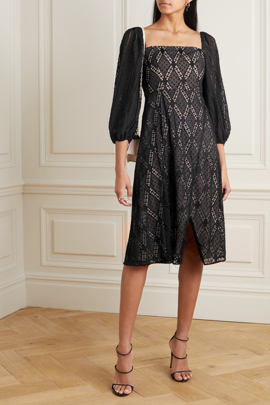 Alice + Olivia Taina wrap-effect broderie anglaise Swiss-dot tulle dress