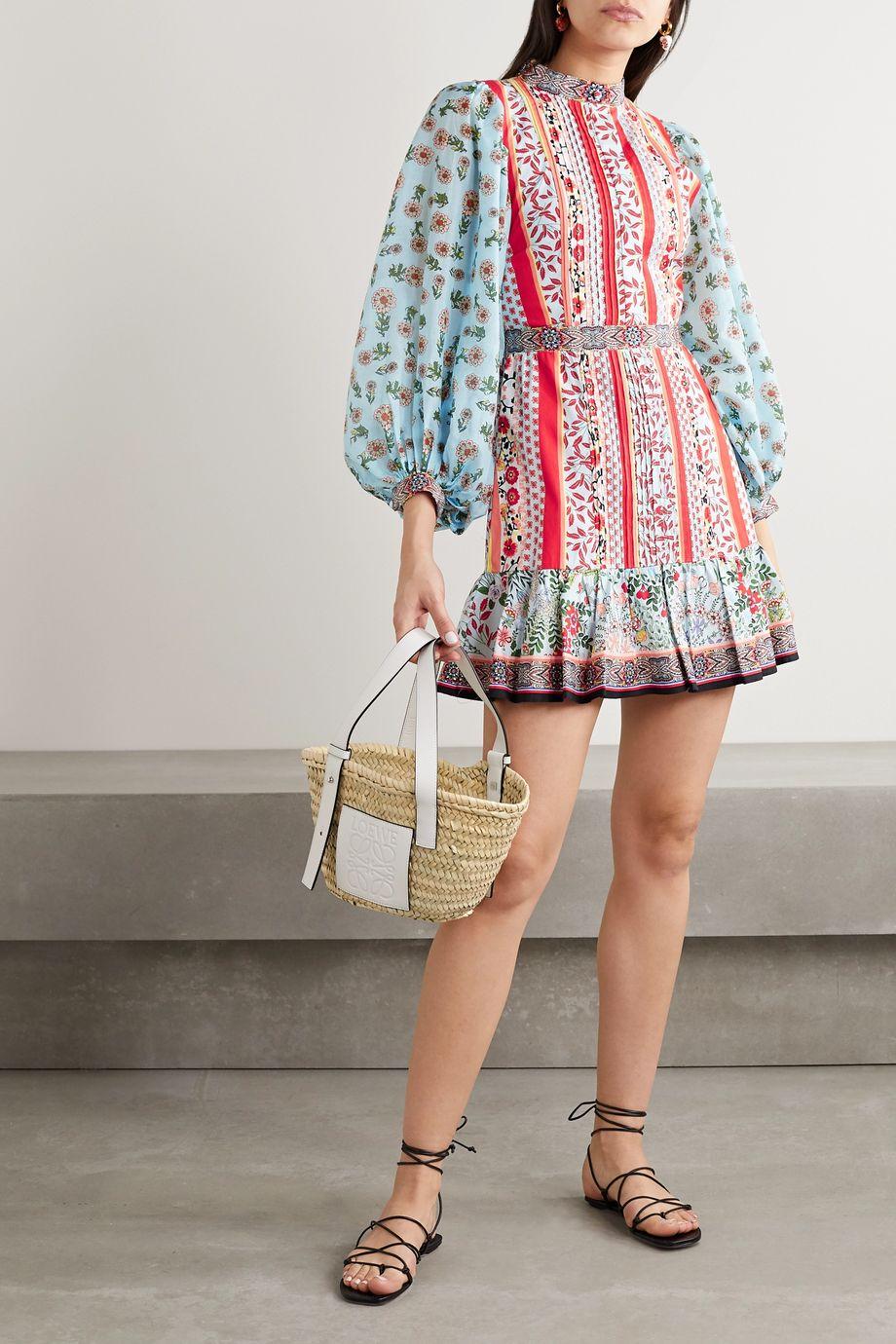 Alice + Olivia Mini-robe en popeline de coton et en mousseline à imprimé fleuri Raya