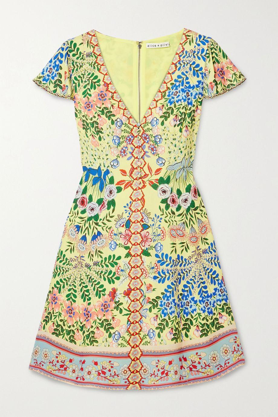 Alice + Olivia Mini-robe en crêpe de Chine à imprimé fleuri Hadley