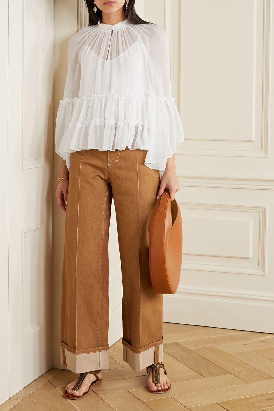 Alice + Olivia Lanita ruffled chiffon blouse