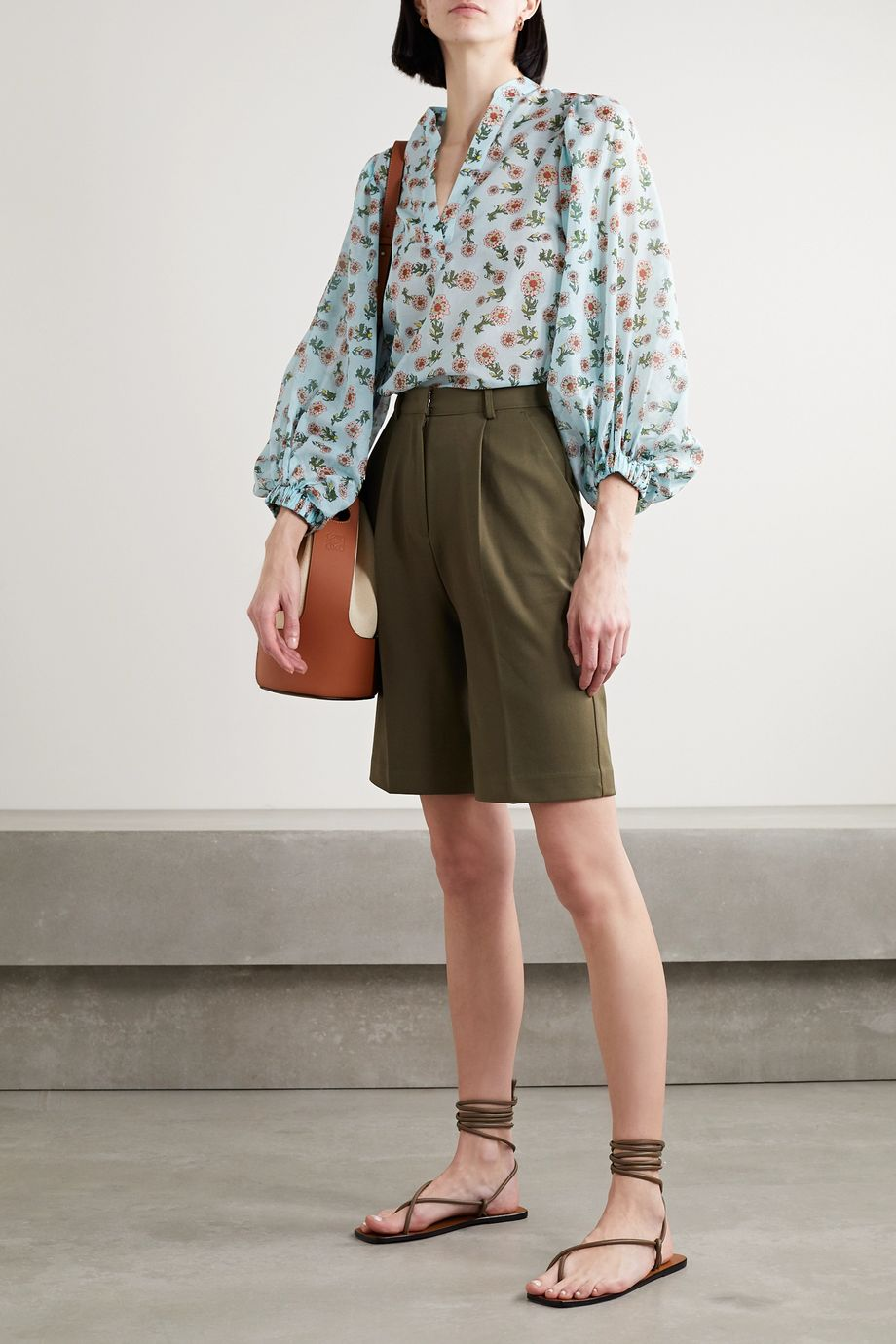 Alice + Olivia Raya floral-print cotton and silk-blend chiffon blouse