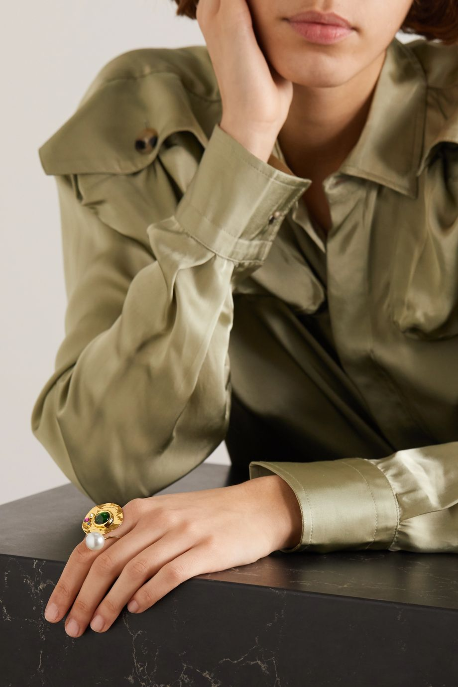 Dries Van Noten Gold-tone, crystal and faux pearl ring