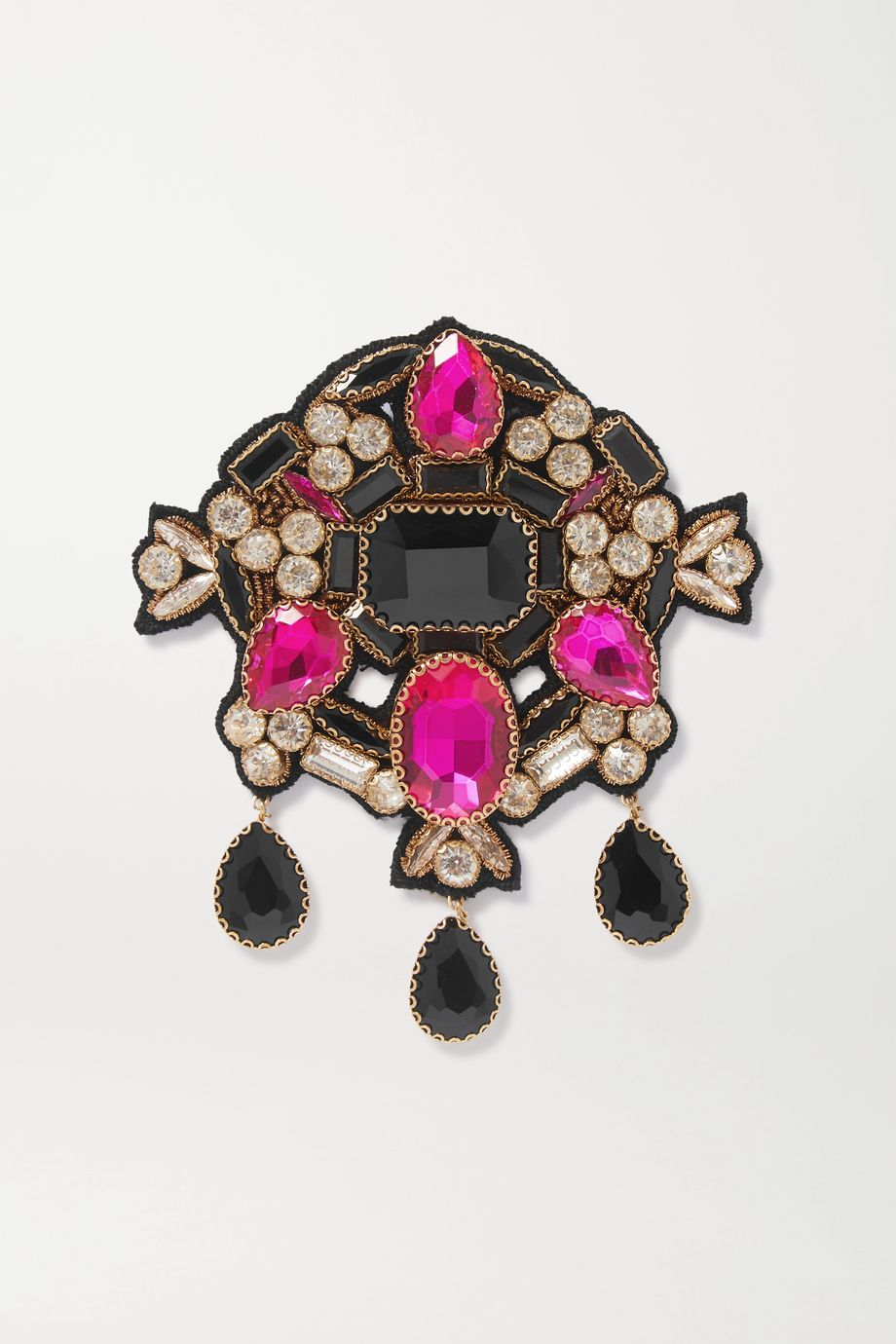 Dries Van Noten Gold-tone crystal brooch