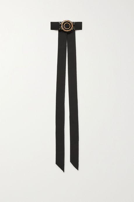 Black Embellished grosgrain choker   Dries Van Noten ZPEKu8