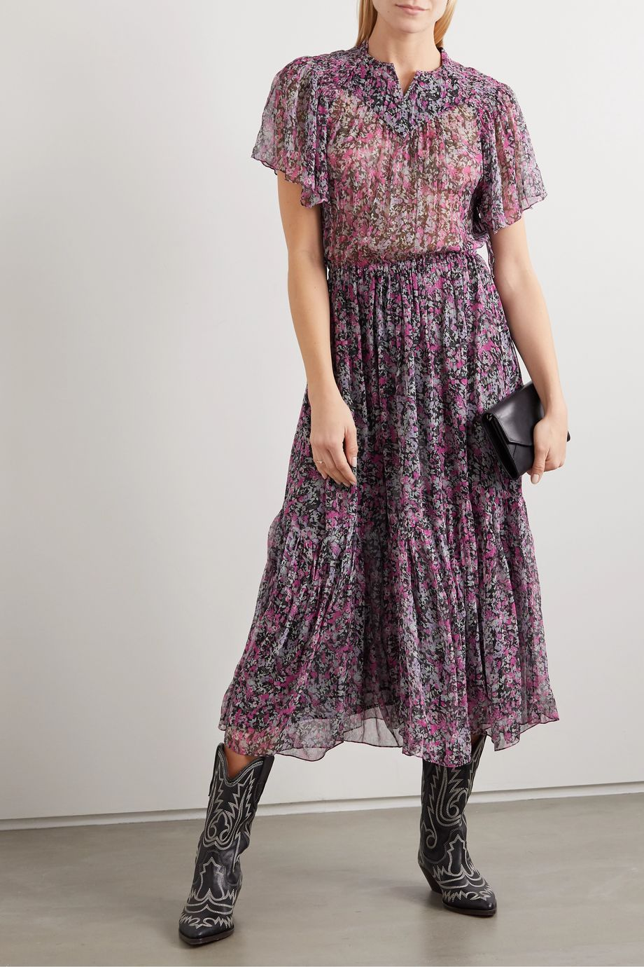 Isabel Marant Odelia tiered floral-print silk-chiffon midi dress