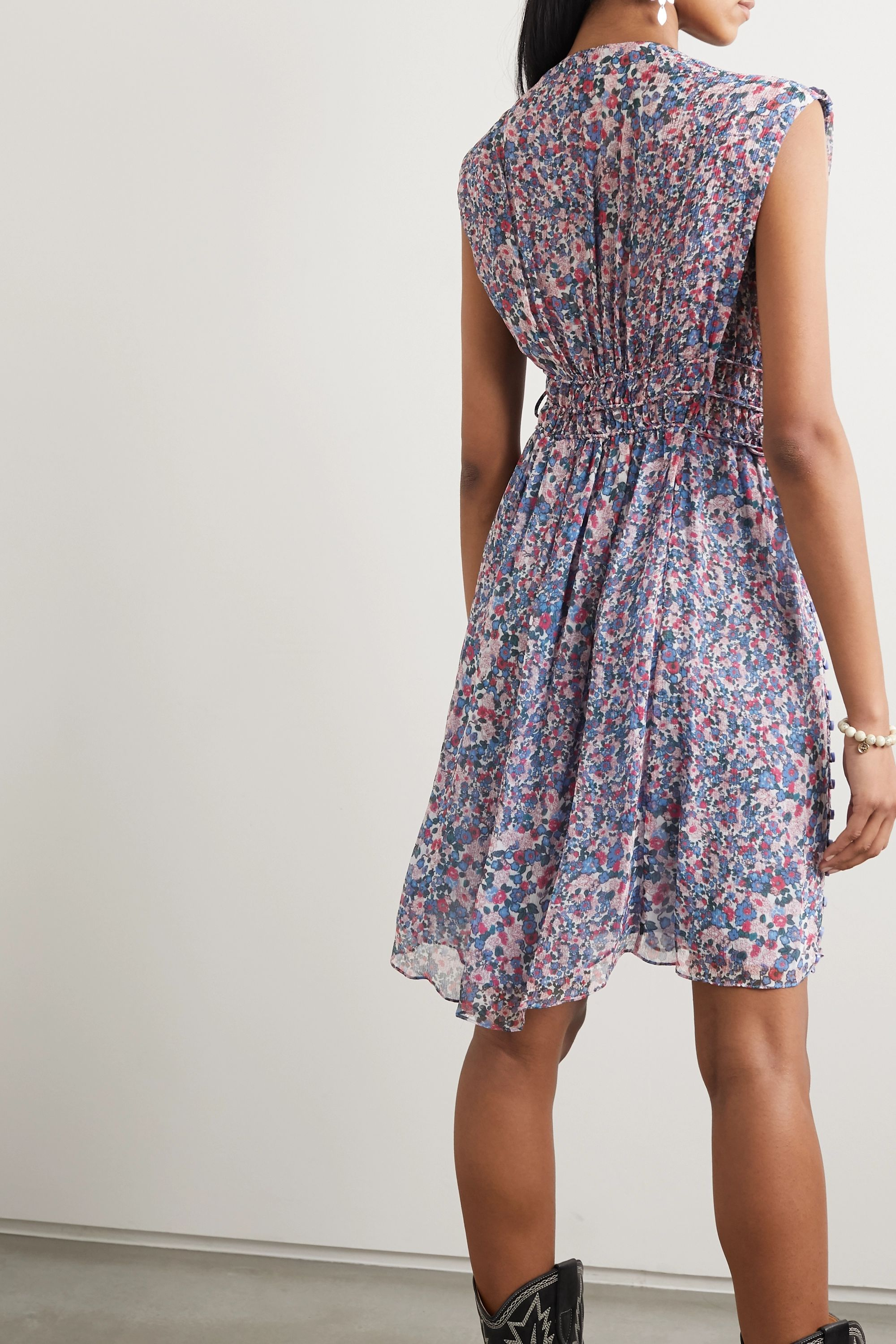 Isabel Marant Oaxoli button-detailed pleated floral-print silk-voile dress