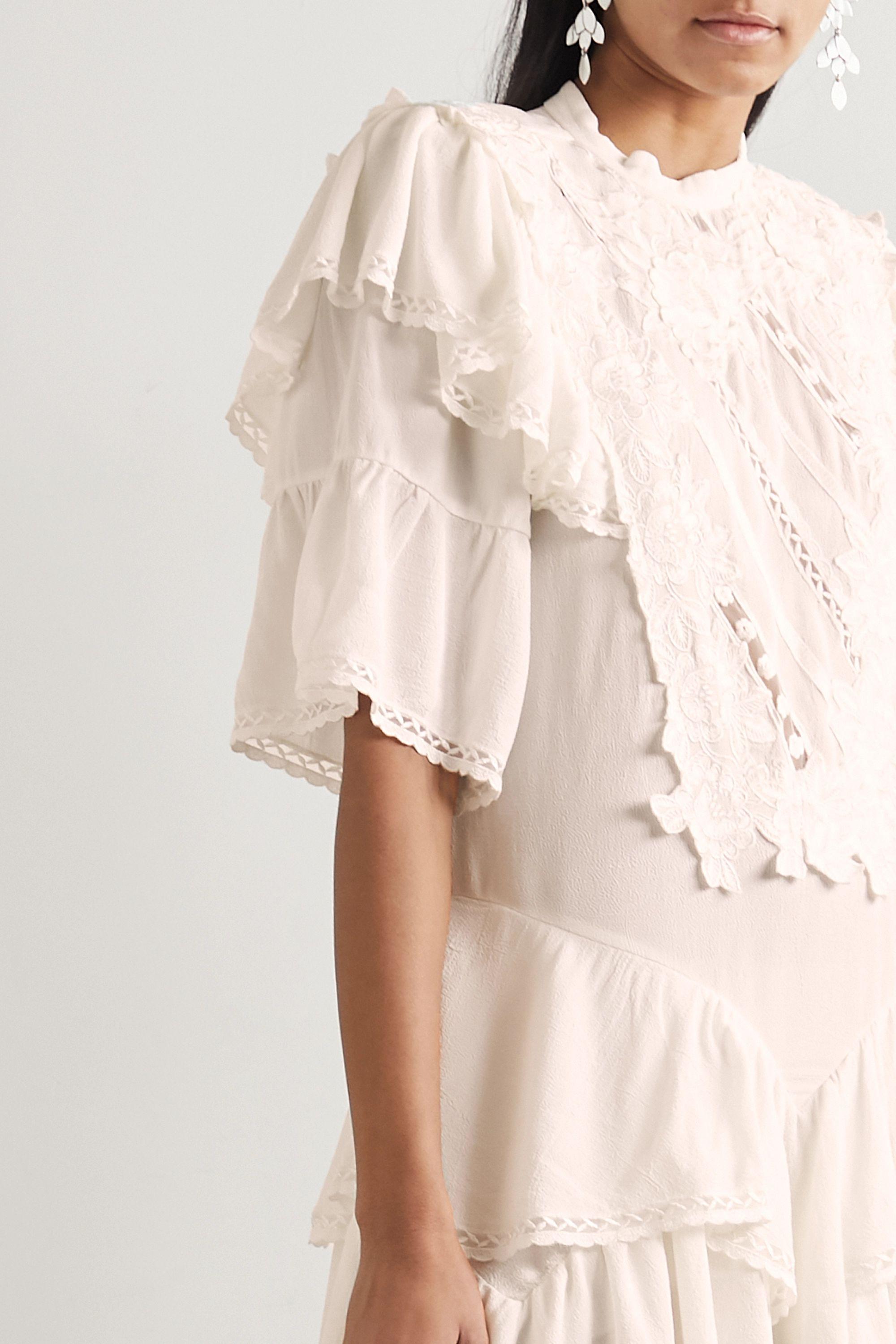 Isabel Marant Asymmetric embroidered crepe mini dress