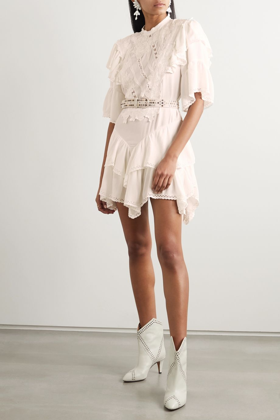 Isabel Marant Asymmetric embroidered crepe mini dress