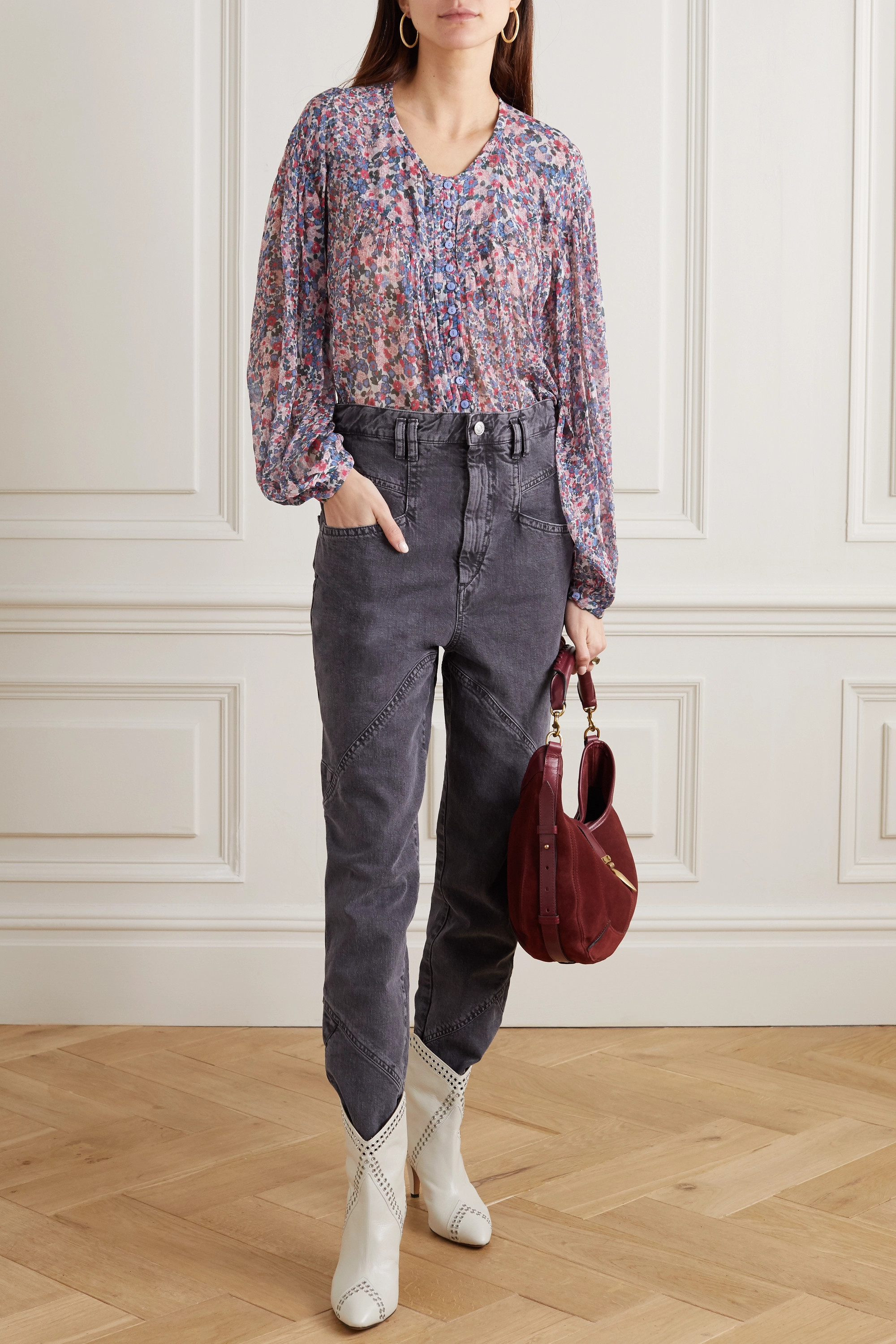 Isabel Marant Orionea pintucked floral-print silk-georgette blouse