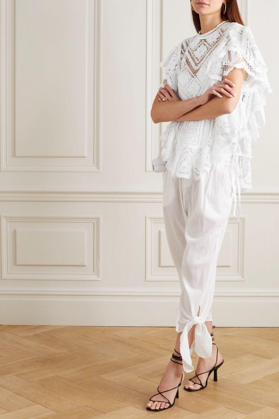 Isabel Marant Zainos ruffled crocheted cotton blouse