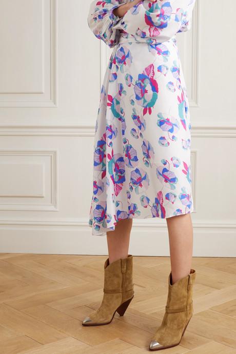 Javenia asymmetric floral-print silk midi skirt