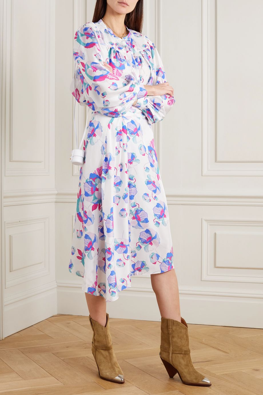 Isabel Marant Javenia asymmetric floral-print silk midi skirt