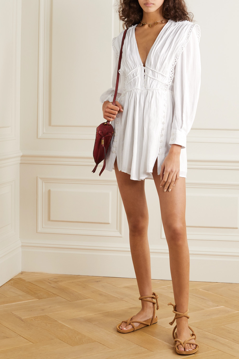 Isabel Marant Yaxo crochet-trimmed gathered cotton-voile mini dress