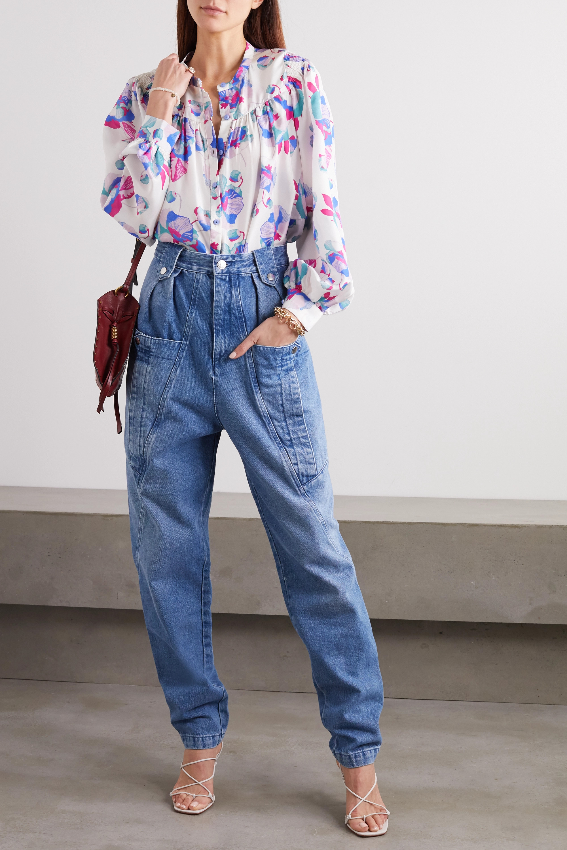 Isabel Marant Ritonea pintucked floral-print silk blouse