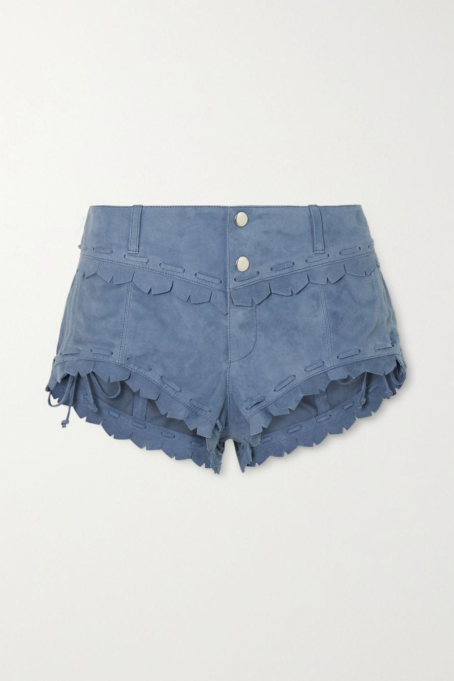 Isabel Marant Aleixo scalloped suede shorts