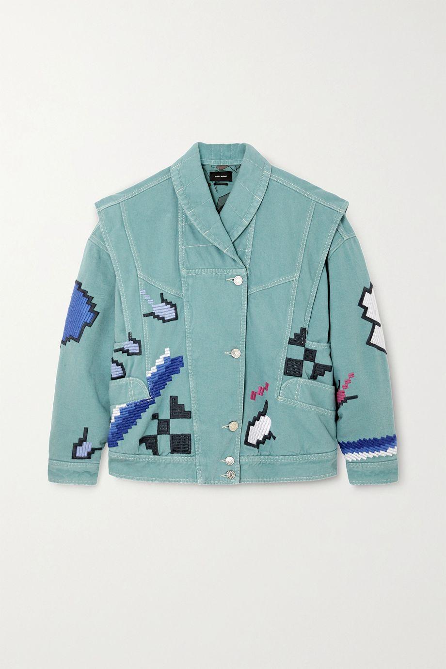 Isabel Marant Erial oversized convertible embroidered denim jacket