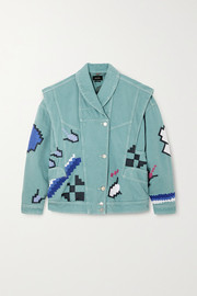 Erial oversized convertible embroidered denim jacket