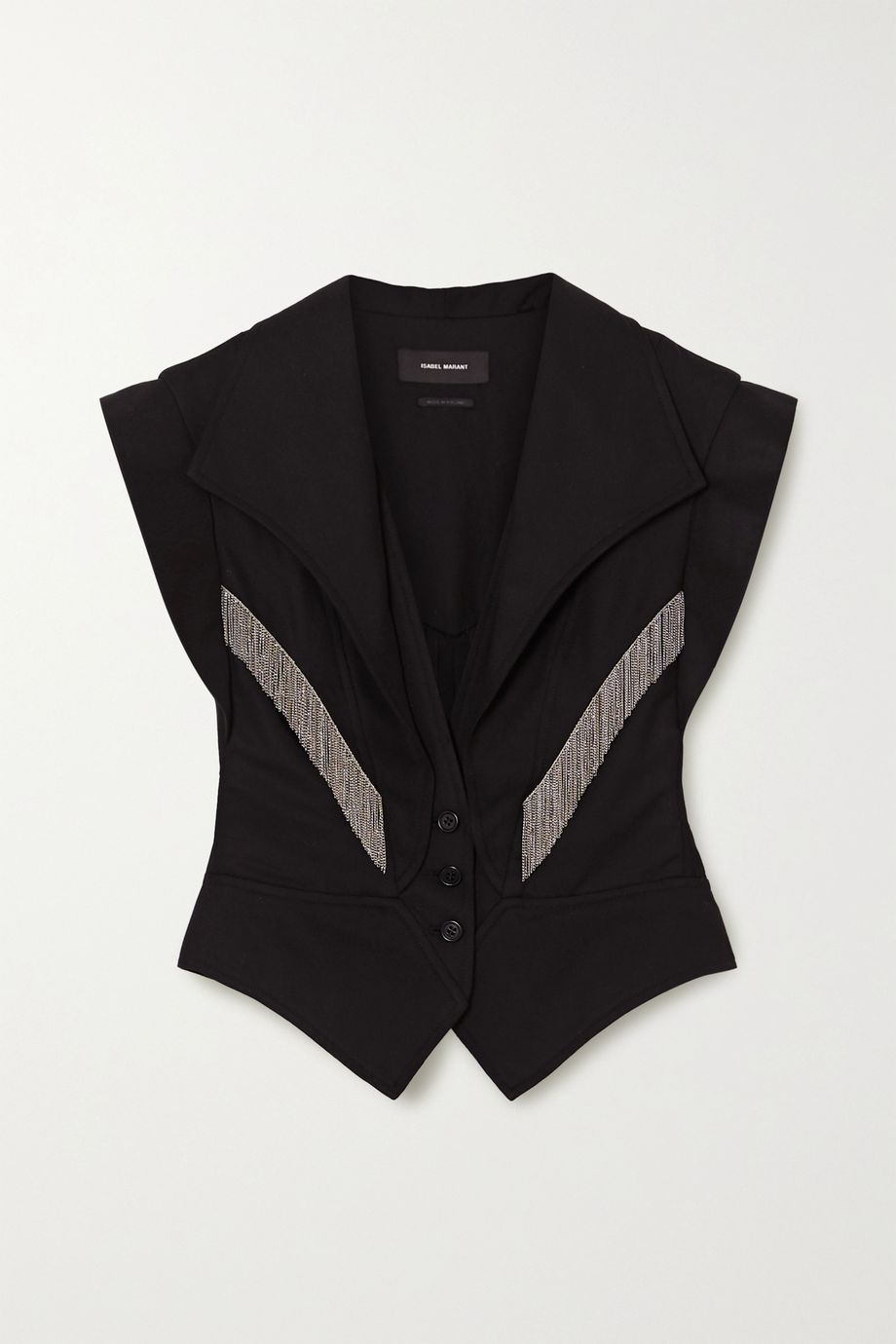Isabel Marant Udalia fringed paneled Lyocell and cotton-blend vest