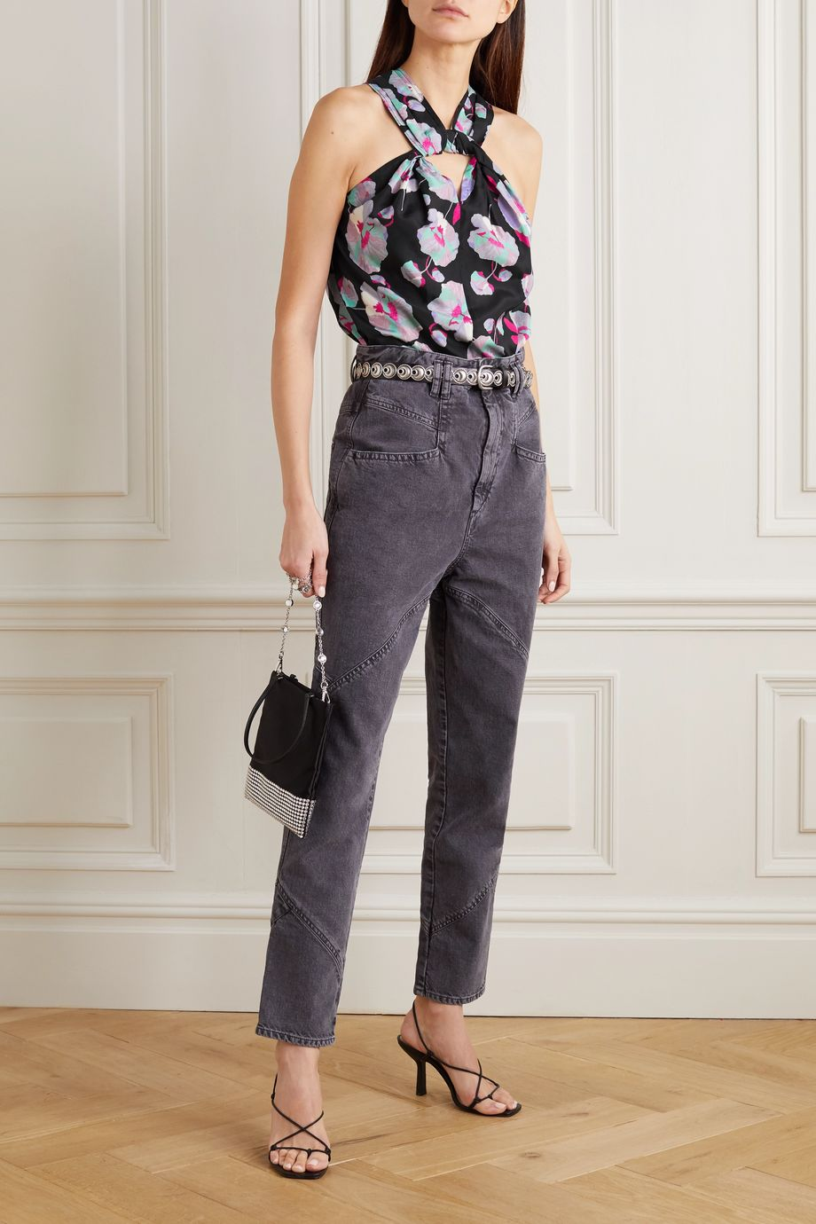 Isabel Marant Stephenea twisted floral-print silk-chiffon top