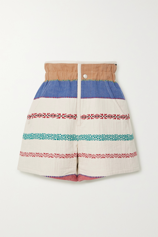 Isabel Marant Baixa embroidered cotton-blend canvas shorts