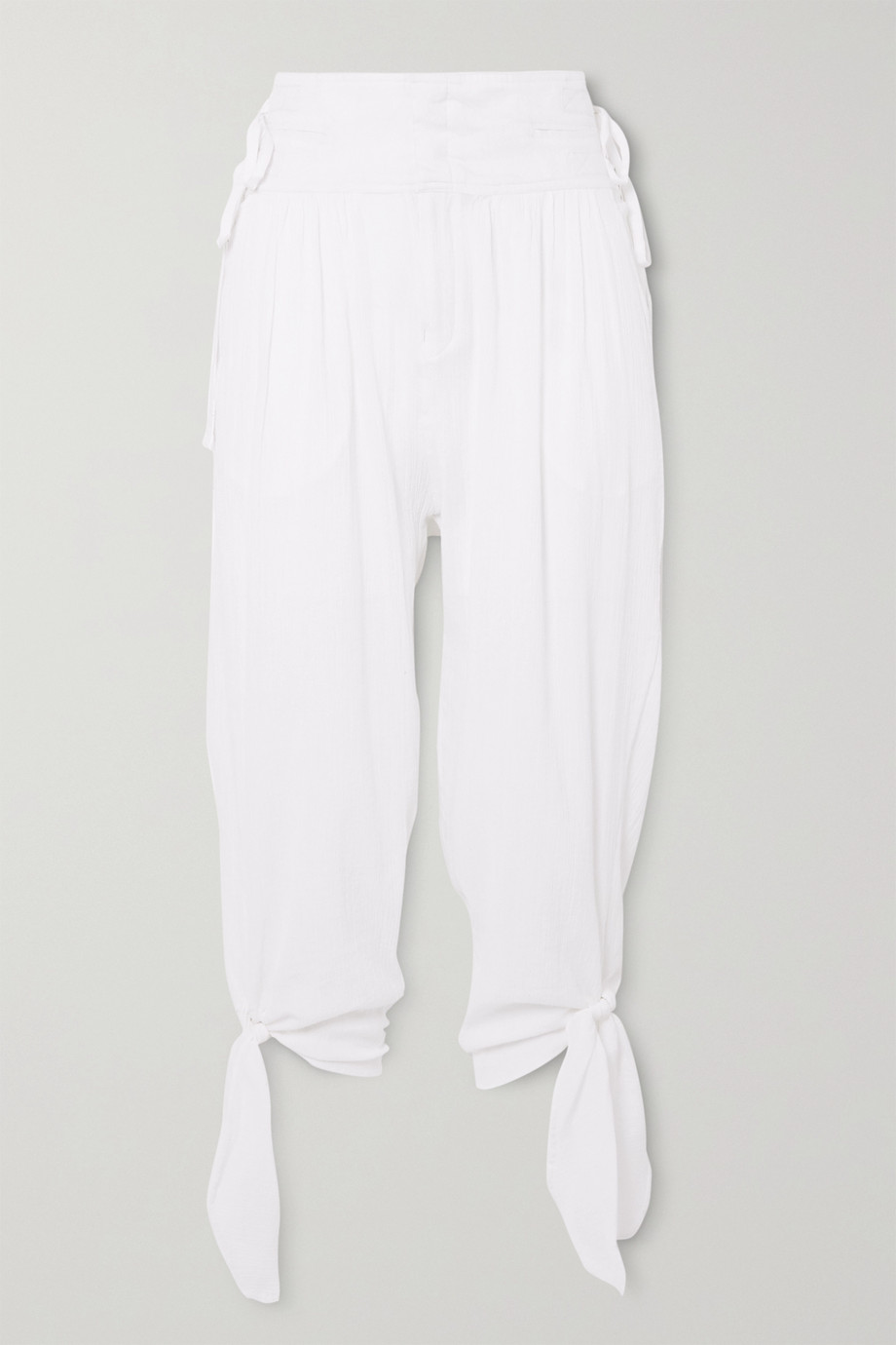 Isabel Marant Yasma cropped knotted cotton-voile pants