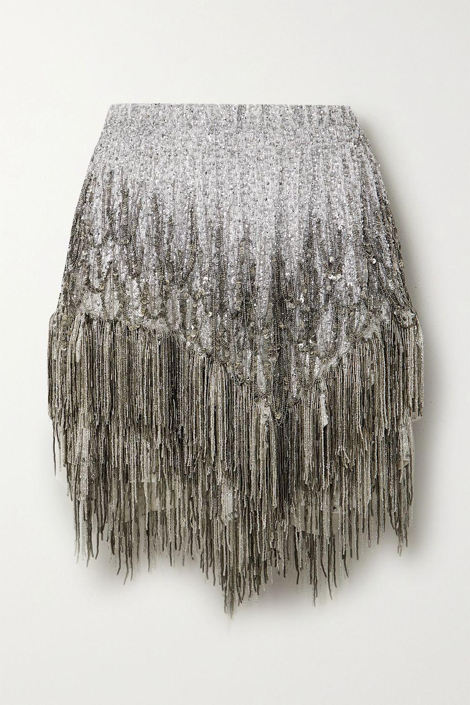 Isabel Marant Zulina fringed embellished metallic silk-blend mini skirt