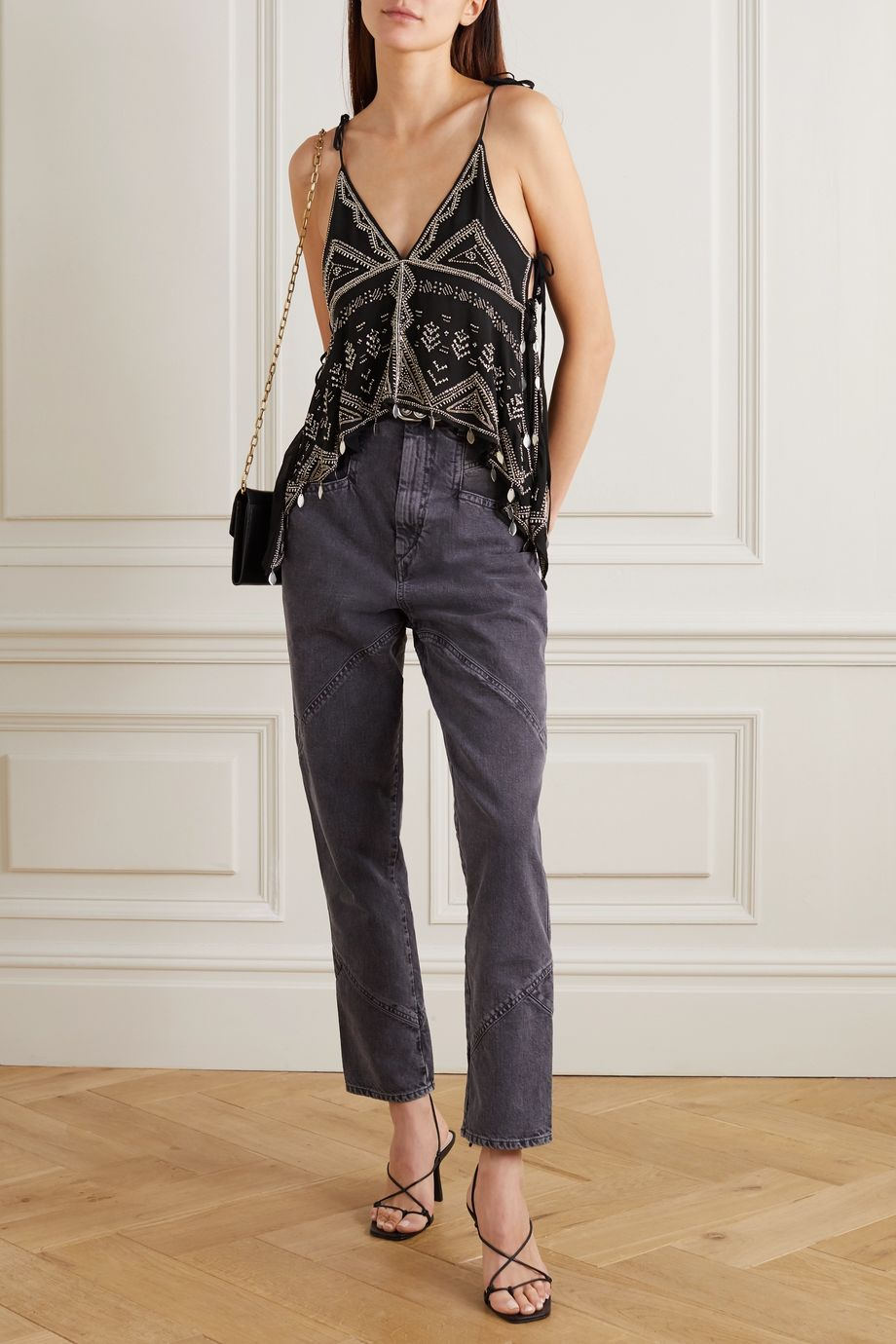 Isabel Marant Jocea tie-detailed embellished silk-chiffon top