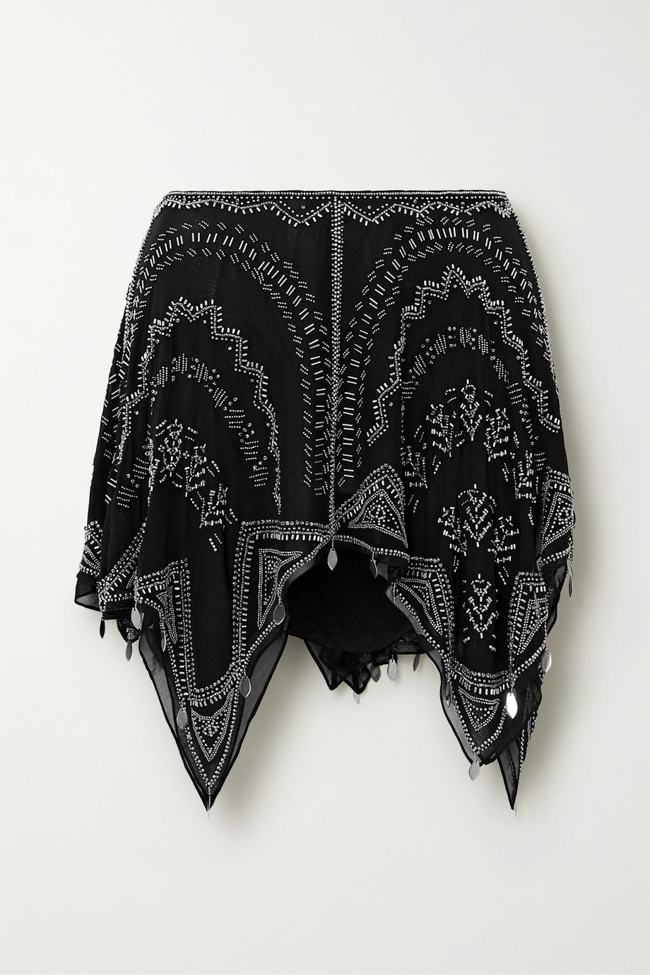 Isabel Marant Junco asymmetric embellished silk-chiffon mini skirt