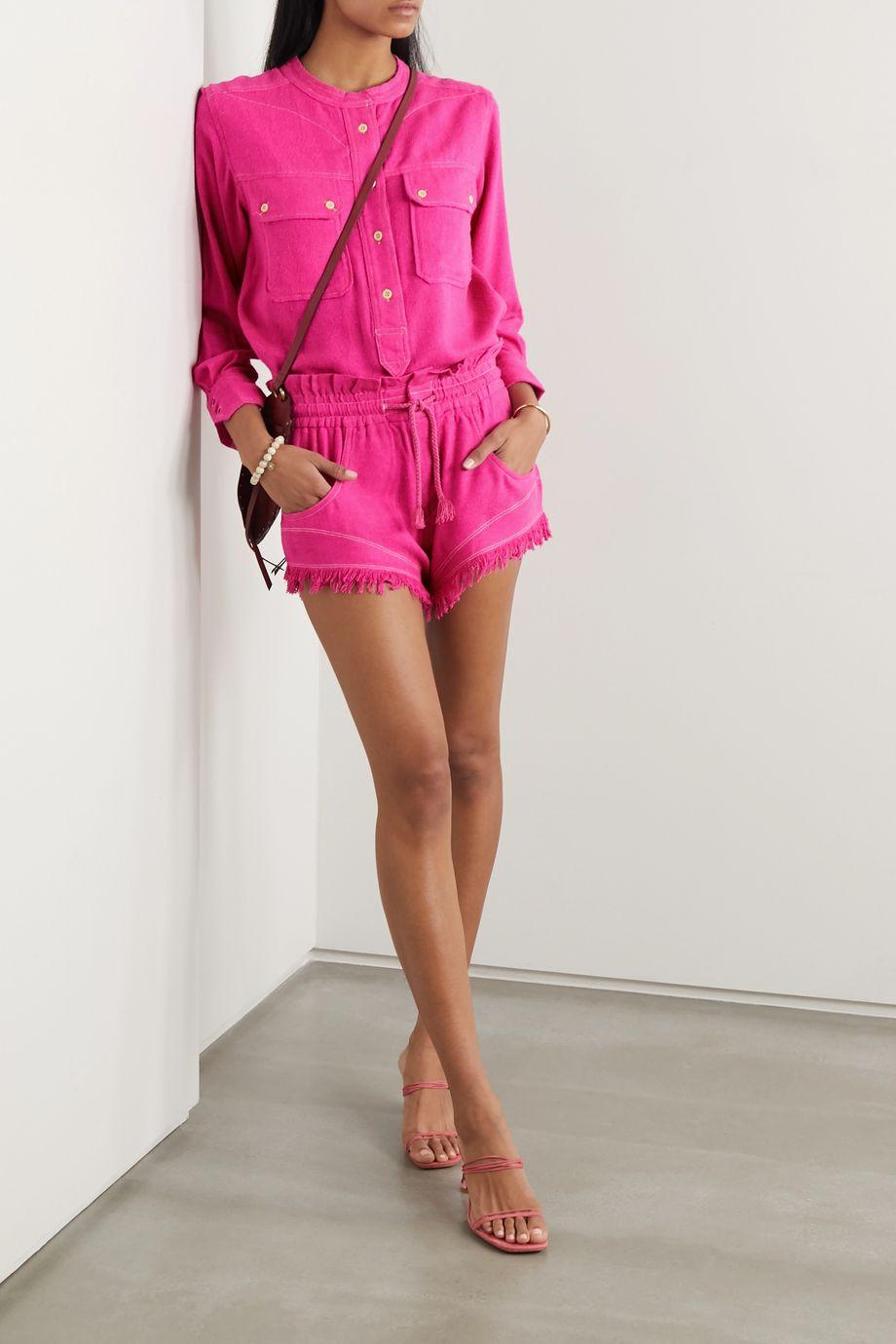 Isabel Marant Talapiz frayed silk-tweed shorts