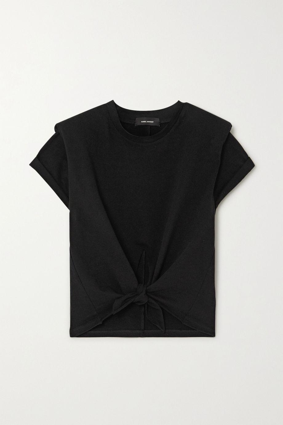 Isabel Marant Belita cropped tie-front cotton-jersey t-shirt