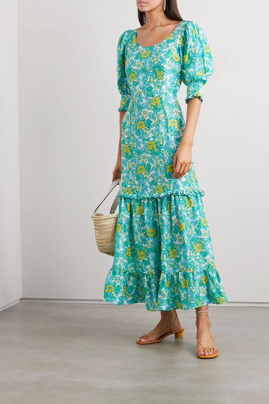 RIXO Kiara tiered ruffled floral-print silk crepe de chine midi dress
