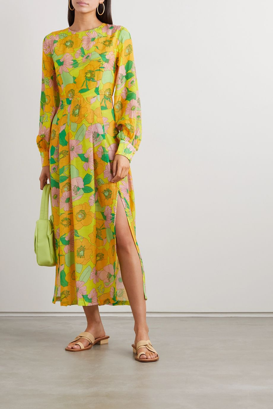 RIXO Emma pleated floral-print modal midi dress