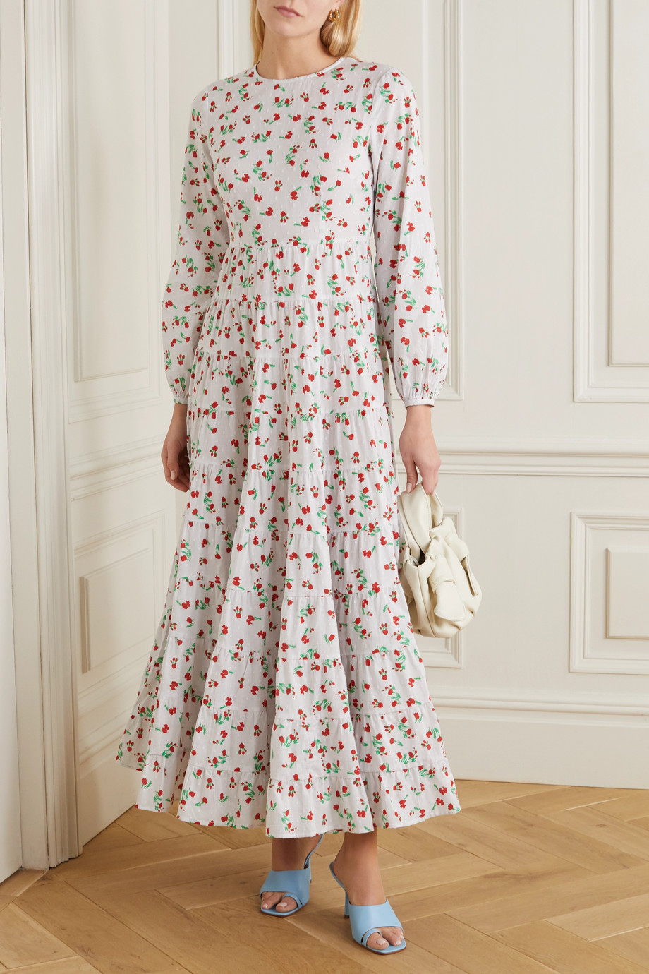 RIXO Pip tiered floral-print fil coupé cotton maxi dress
