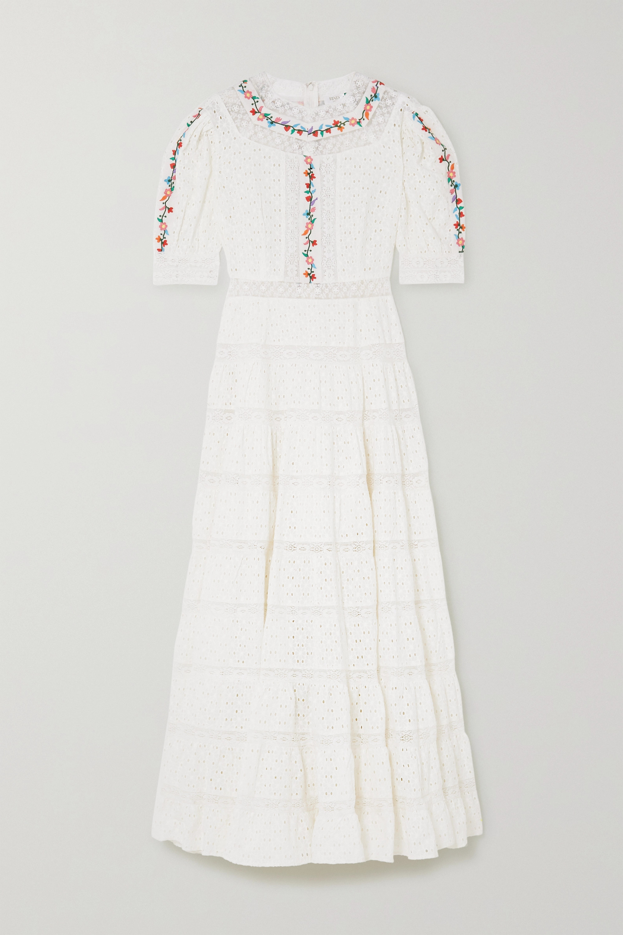RIXO Skylar tiered lace-paneled embroidered broderie anglaise cotton maxi dress