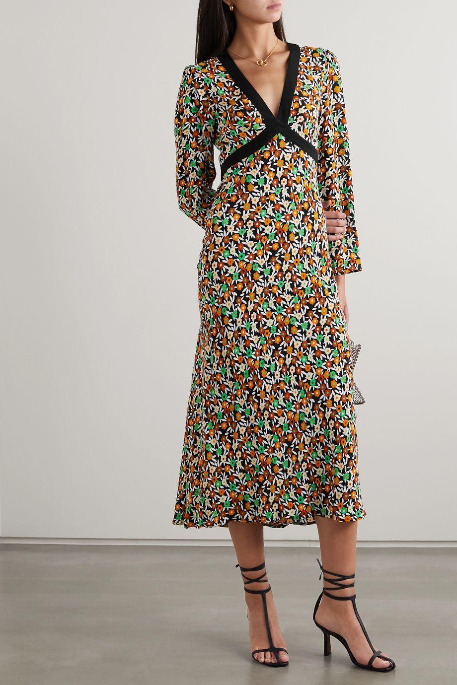 RIXO Tania floral-print crepe midi dress