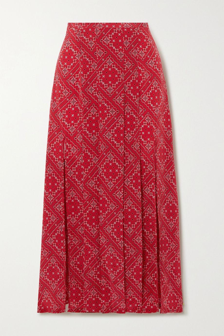 RIXO Georgia pleated paisley-print silk midi skirt
