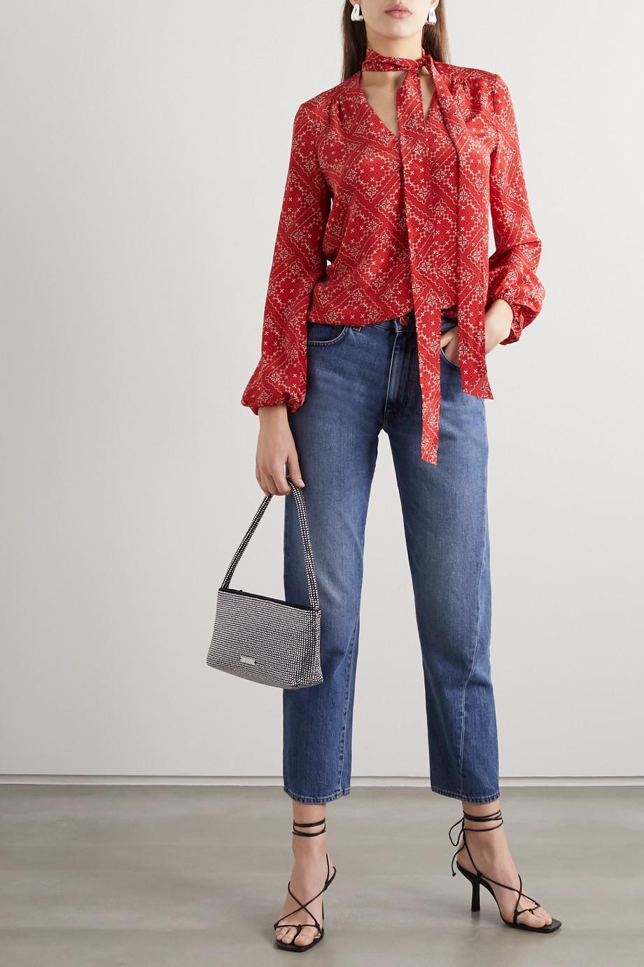 RIXO Moss pussy-bow printed silk blouse