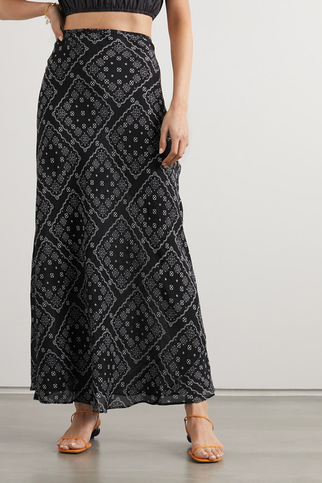 Kelly floral-print silk crepe de chine maxi skirt