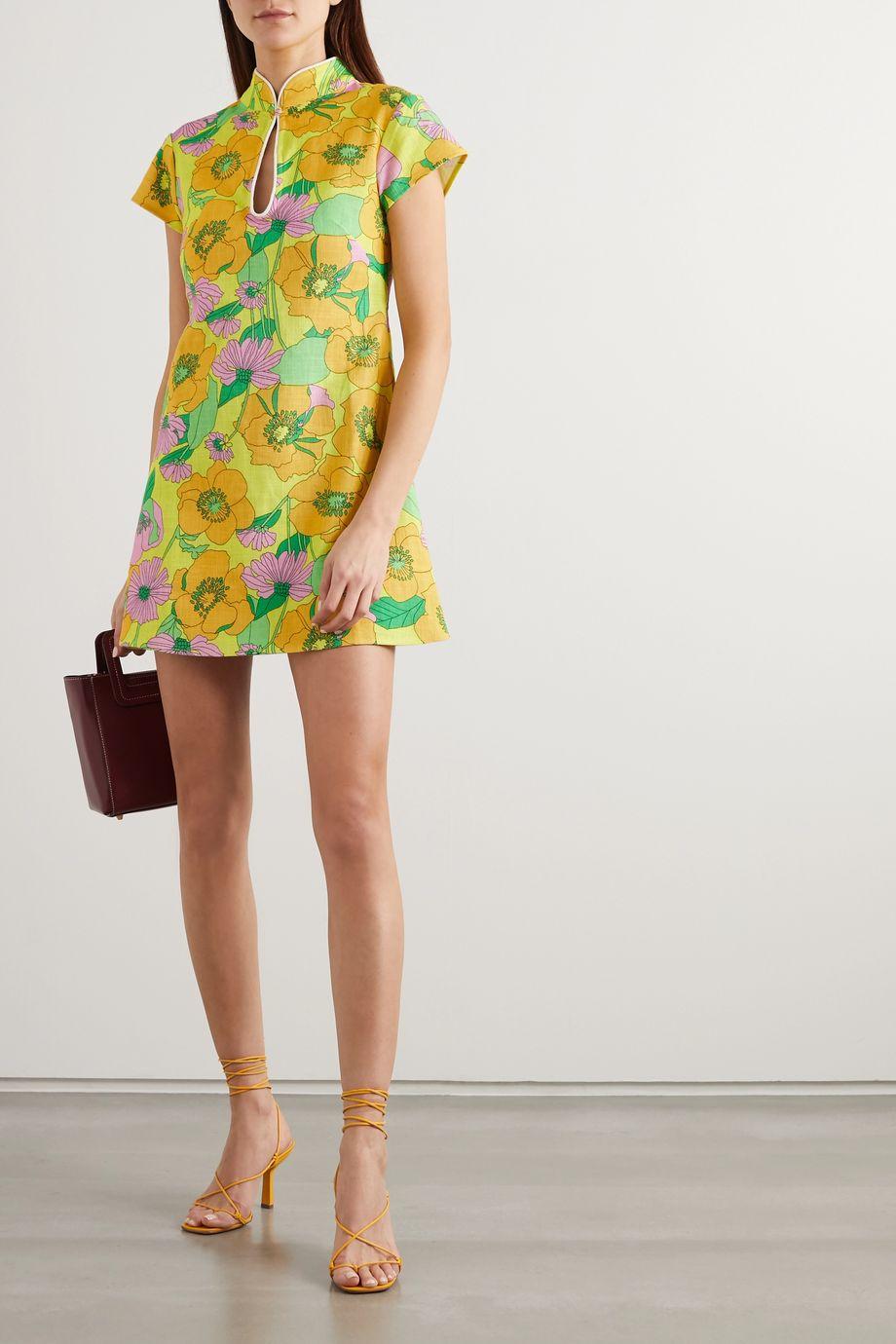 RIXO Lolita floral-print cotton mini dress