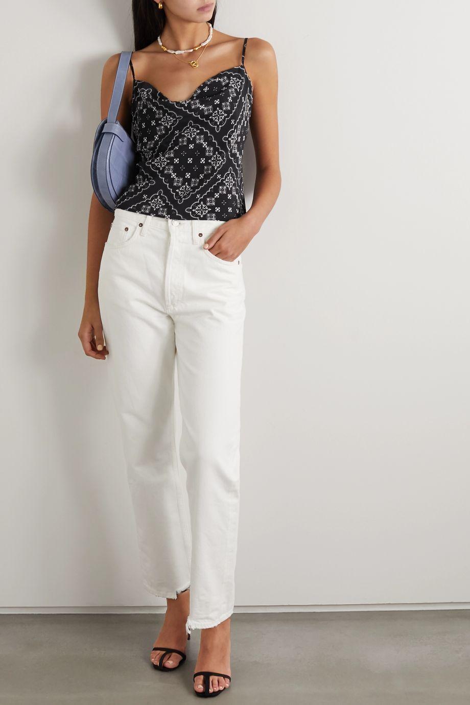 RIXO Jill draped paisley-print silk camisole