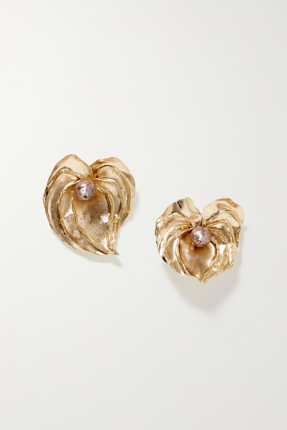 STVDIO Anthurium gold-tone pearl earrings