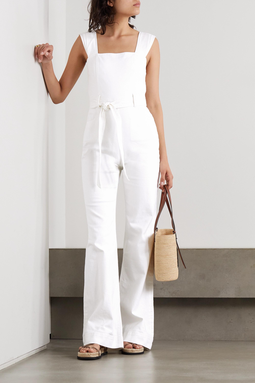 Belted White Denim Jumpsuit