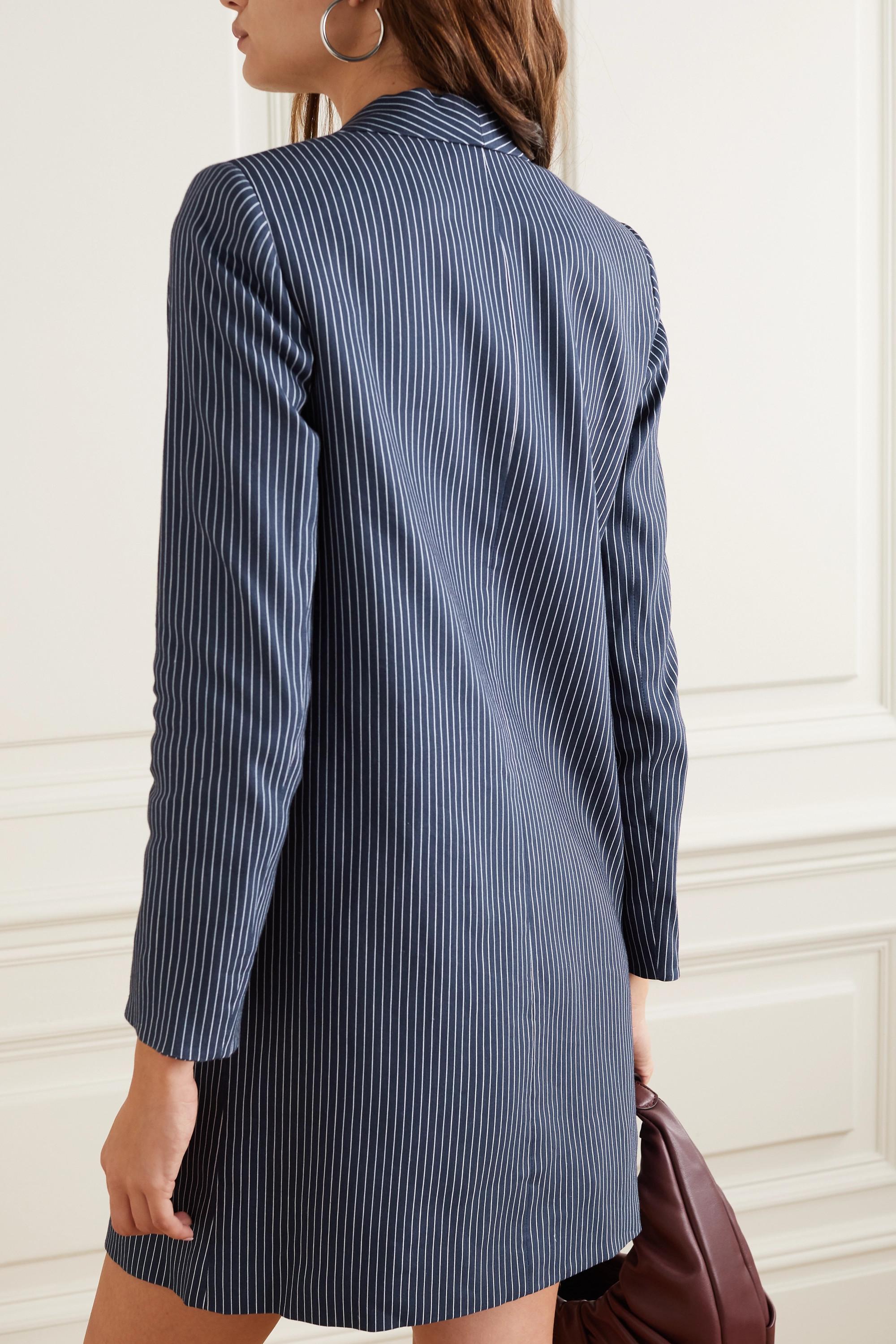 Alice + Olivia Kylie striped linen-blend blazer